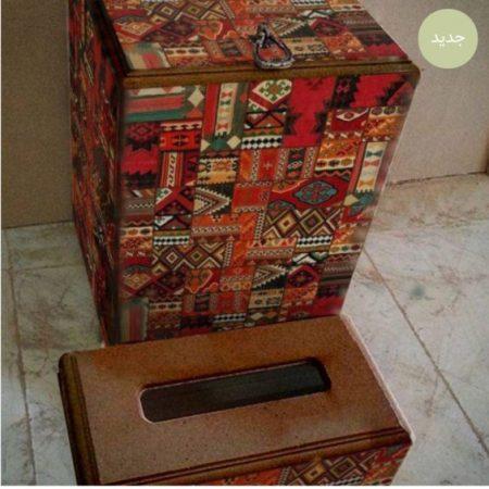 ست سطل آشغال ودستمال چوبی سنتی