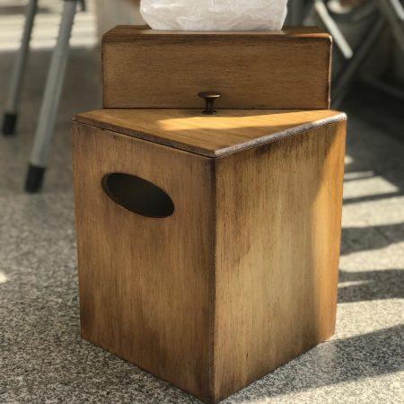 ست جا دستمال کاغذی و سطل زباله چوبی پتینه رنگ چوب