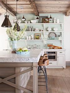آشپزخانه با دکوری چوبی