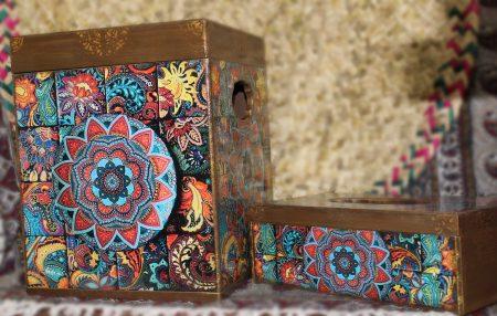 ست سطل در دار و جا دستمالی طرح گل خورشیدی