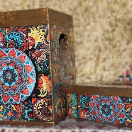 سطل آشغال و جای دستمال کاغذی چوبی طرح گل خورشید