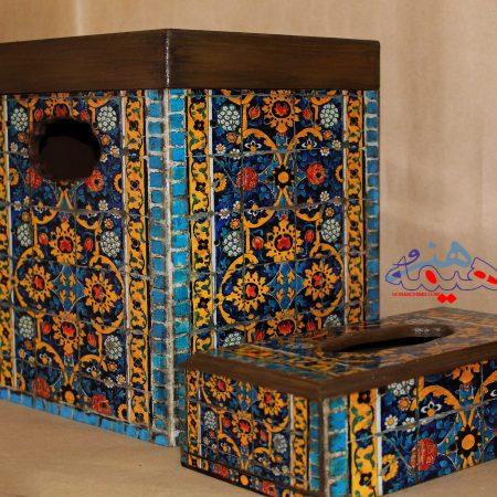 سطل زباله و جا دستمالی چوبی طرح سلطانیه
