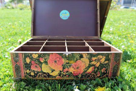 جعبه تی بگ طرح گل ومرغ نما را روبرو
