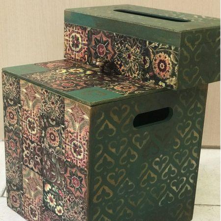 سطل زباله و جا دستمالی چوبی طرح اسلیمی