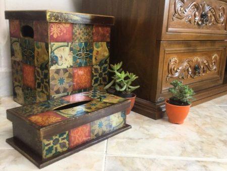 سطل زباله و جا دستمال چوبی خشتی پاییزی