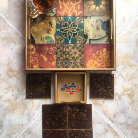 سینی چوبی چای با طرح خشت گل هنروهیمه