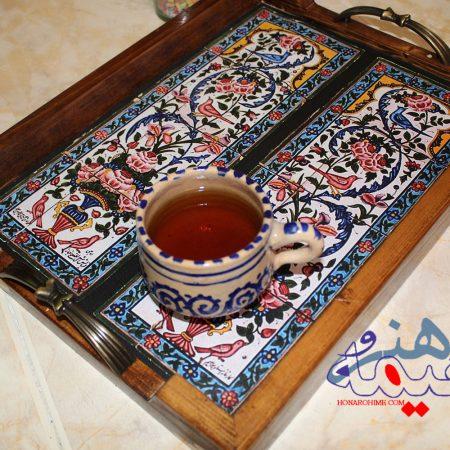 سینی چای با طرح کاشی دو لت روبرو