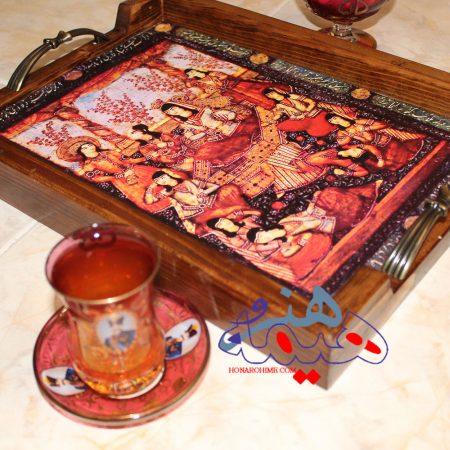 سینی چای با طرح بزم قاجار